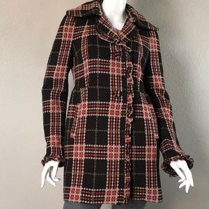 Steve Madden Wool Blend Plaid Winter Coat